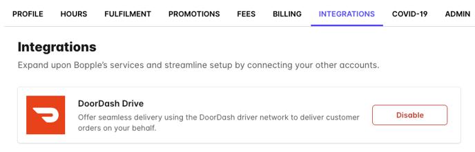 DoorDash Integrations Screen
